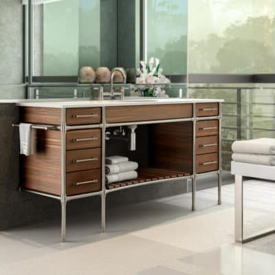 Palmer Industries sink legs on display in kitchen showroom