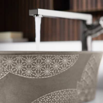 Showroom features Kohler plumbing products for residential kitchen and bathroom remodeling
