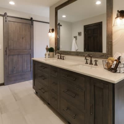 furniture style vanity featured in recent bathroom remodel