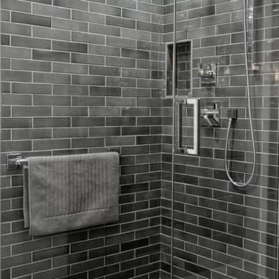 gray subway tile in new luxury shower