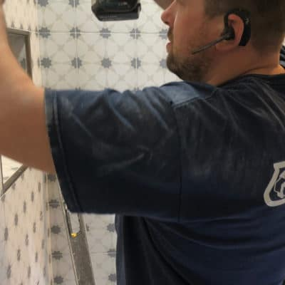 shower tile installation in bathroom
