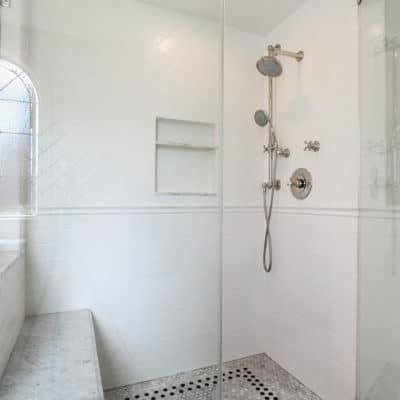 subway tile installed in new shower during recent bathroom remodeling project