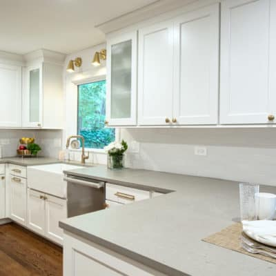 matte quartz countertops with square edge treatment featured in recent kitchen remodel