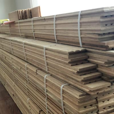 hardwood flooring ready for installation in kitchen remodel