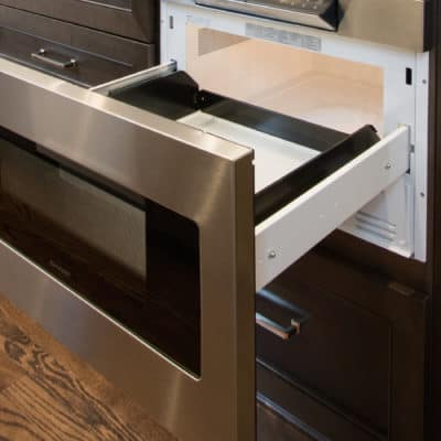 under counter micro drawer mounted in kitchen island